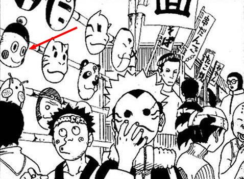 Chiaotzus Gesicht als Maske im Naruto Manga